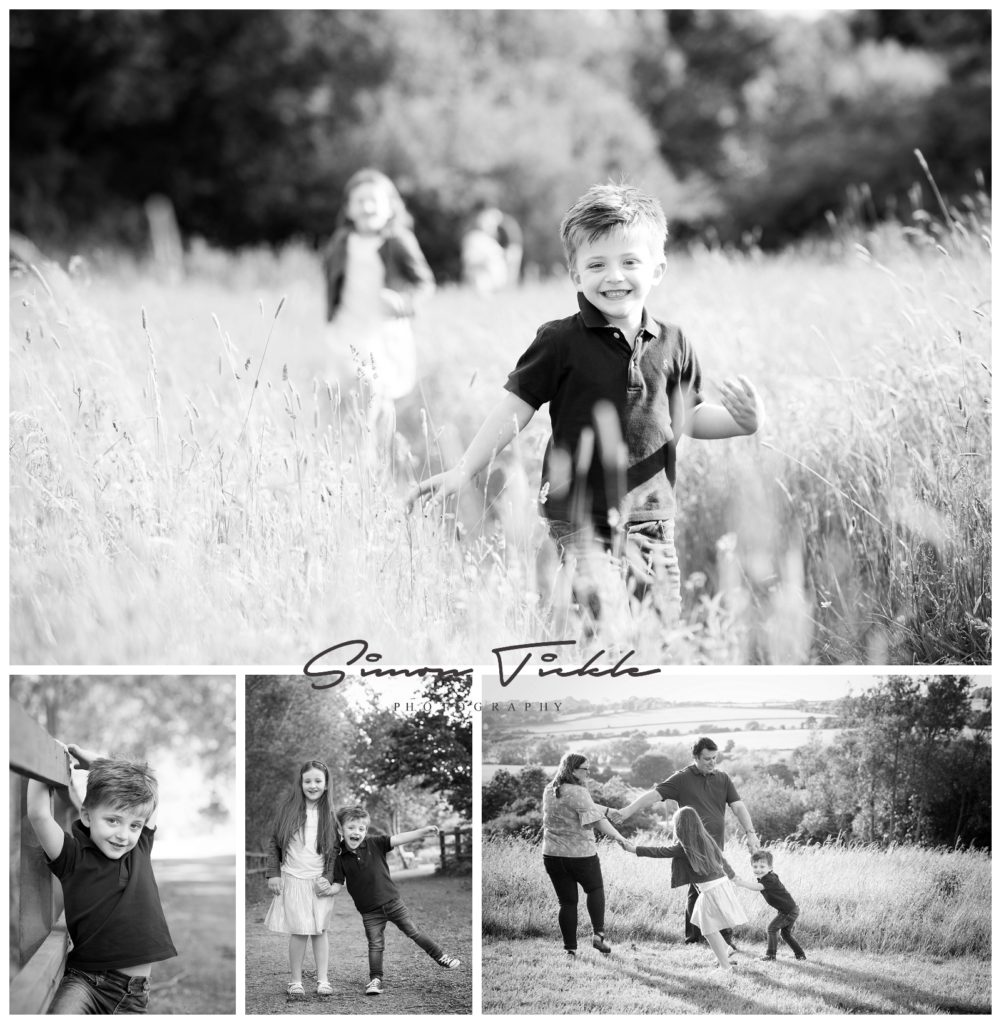 children run through fields at sunset in mansfield