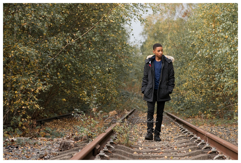 autumnal woodland photoshoot train tracks
